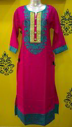 Rayon Round Neck Embroidered Kurti