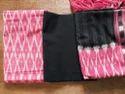 Female Pink, White & Black Ikat Dress Material