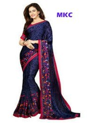 MKC Full Georgette Navy Blue Saree, Blouse Size: 0.80, With Blouse Piece