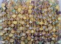 Fluorite Gold Vermeil Wire Wrapped Rosary Beaded Chain
