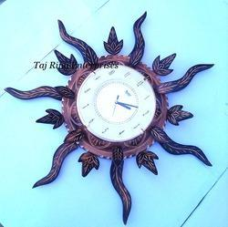 Wooden Sun Leaf Clock