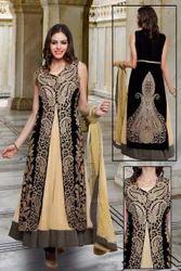 Velvet Blue and Beige Color Designer Anarkali Suits