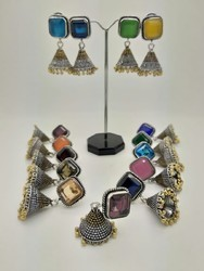 P.B.C.I. Brass Oxidized Color Stone Jhumka