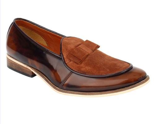 Casual Redcraft Handmade Bow Loafer Shoes - Brown