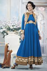 Blue Embroidered Fancy Salwar Suit