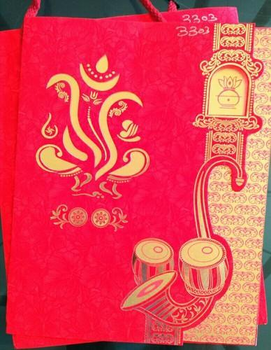 Designer Red Art Paper With Dai Cut Ganesha On Title Page With