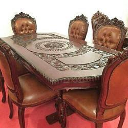 Brown Wooden Carved Dining Table