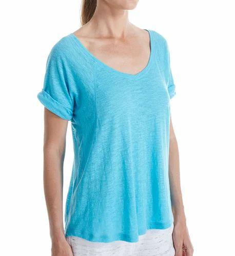29211bf41643 Poly Cotton Plain Ladies Burnout T Shirts