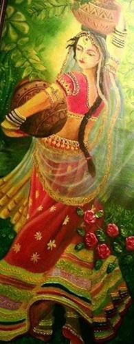 goddess radhaji oil painting - Oil Painting