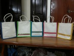 Green And Yellow Jute Bags
