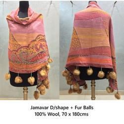 Wool D Shape Shawl With Fur Balls