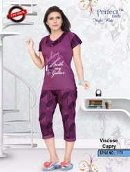 Viscose Capri Night Suit