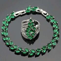 Nakkash Jewellers Emerald Diamond Bracelet and Ring Set, Size: 16 Inch