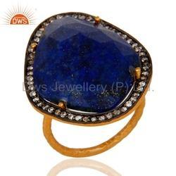 CZ Lapis Lazuli Gemstone Gold Plated Ring Jewelry For Womens