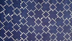 Blue And White Cotton Dabu Indigo Designer Printed Fabric