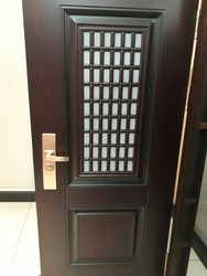 Room Wooden Finish Mild Steel Door