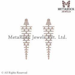 14k Rose Gold Pave Diamond Filigree Earring