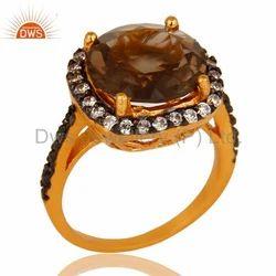 Smoky Quartz Gemstone Silver Ring