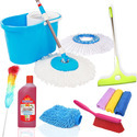 Kawachi 9 in 1 Combo Pack Best Spin Mop & Bucket System