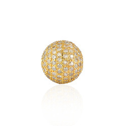Handmade Yellow Gold 18kt Diamond Pave Bead