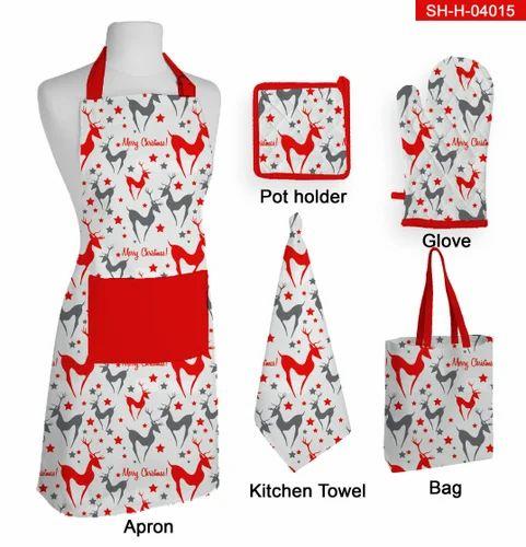 Red Christmas Kitchen Apron Set