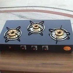 Sapt Rishi Black Three Burner Gas Stoves Glass Top, for Kitchen