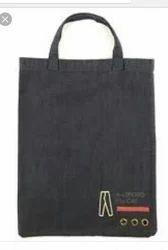 Sky Blue And Navy Blue Plain Denim Bags, Size: 15x12x7 Cm