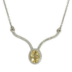 SHNL0039 925 Citrine Silver Necklace