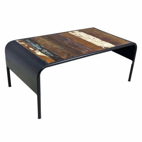 Reclaimed Wood Metal Coffee Table.Industrial Reclaimed Wood Iron Coffee Table
