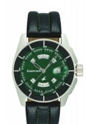 Bottle Green Dial Stainless Steel Back Fastrack Leather Analog Watch Black