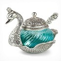 White Metal Duck Glass Bowl