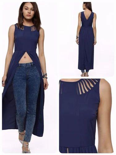 Blue Formal Stylist Front Open Long Dress