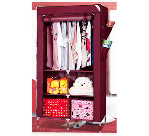 734bf2180 Maroon Evana 90cm Collapsible Folding Almirah Foldable Wardrobe, Rs ...