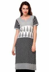 Printed Cotton Long Kurta In Black And White