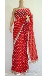 Red Art Chiffon Lehriya Saree