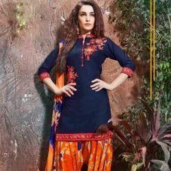 Cotton Navy Blue Color  Palatial Punjabi Dress