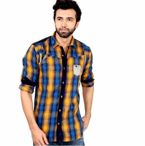 5edcb26e33 Mens Checkered Blue Shirt at Rs 500  piece