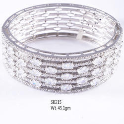 925 Sterling Silver American Diamond Stone Bangle