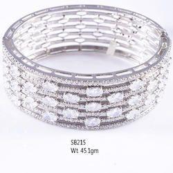 925 Sterling Silver American Diamond Stone Bangle