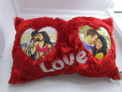 2 Heart Red Fur Cushion Cover