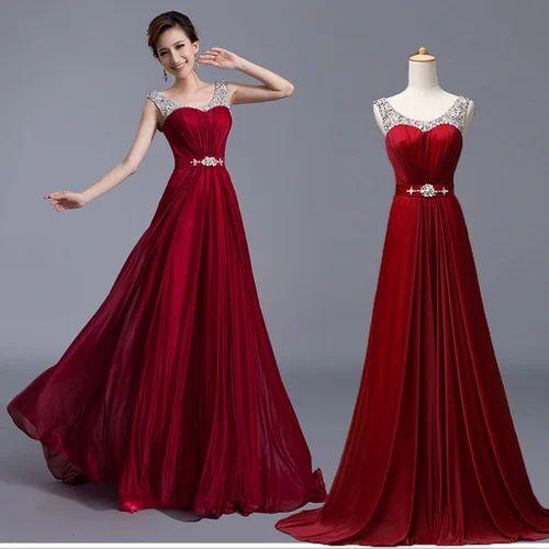 Red Ladies Gown Ladies Dresses Apparels Clothings Shree