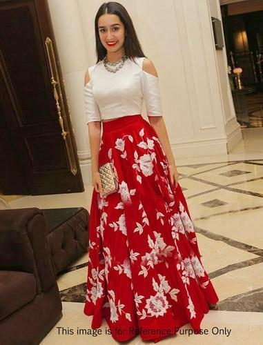 ac097563b02693 Georgette Semi-stitched White and Red Semi Stitched Lehenga Suit, Size:  Large