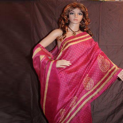 ca4bfacc6fc Bagru Hast Kala Printers Party Wear Chanderi Silk Saree With Blouse Piece