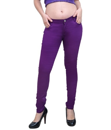 6a6c9c62e Stretchable Women Casual pants - Purple Solid Stretchable Women ...