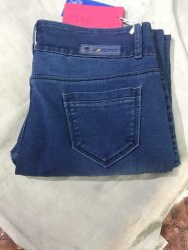 Ladies Blue Solid Party Wear Denim Jeans