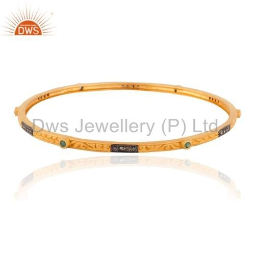 Pave Diamond Bangles & Bracelets - Emerald Daimond Bangle 925 Silver Jewelry Exporter from Jaipur