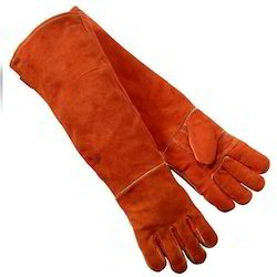Full Finger Red Safety Long Leather Hand Gloves, Packaging Type: Packet