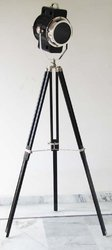 Search Light Floor Lamp Black Tripod Stand