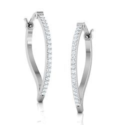 Sheetal Impex 0.40Tcw SI/FG Color Real Natural Diamonds Stud 14Kt White Gold Hoop / Bali Earring