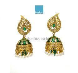 Traditional Antique Polki Jhumka Earrings